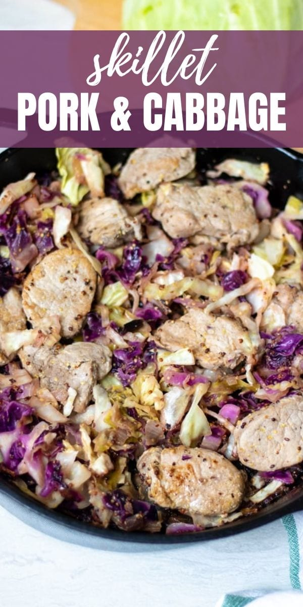 Skillet Pork Tenderloin with Cabbage is an easy, one-pot pork and cabbage meal.  Tender pork tenderloin chops are pan-seared with mustard, cider, and cabbage for a quick and healthy dinner that is full of flavor and gluten-free and low carb. This pork tenderloin recipe is quick to make, yet absolutely delicious. The classic pairing of pork and cabbage with mustard and apple cider creates a mouth-watering meal that is ready in less than 30 minutes.