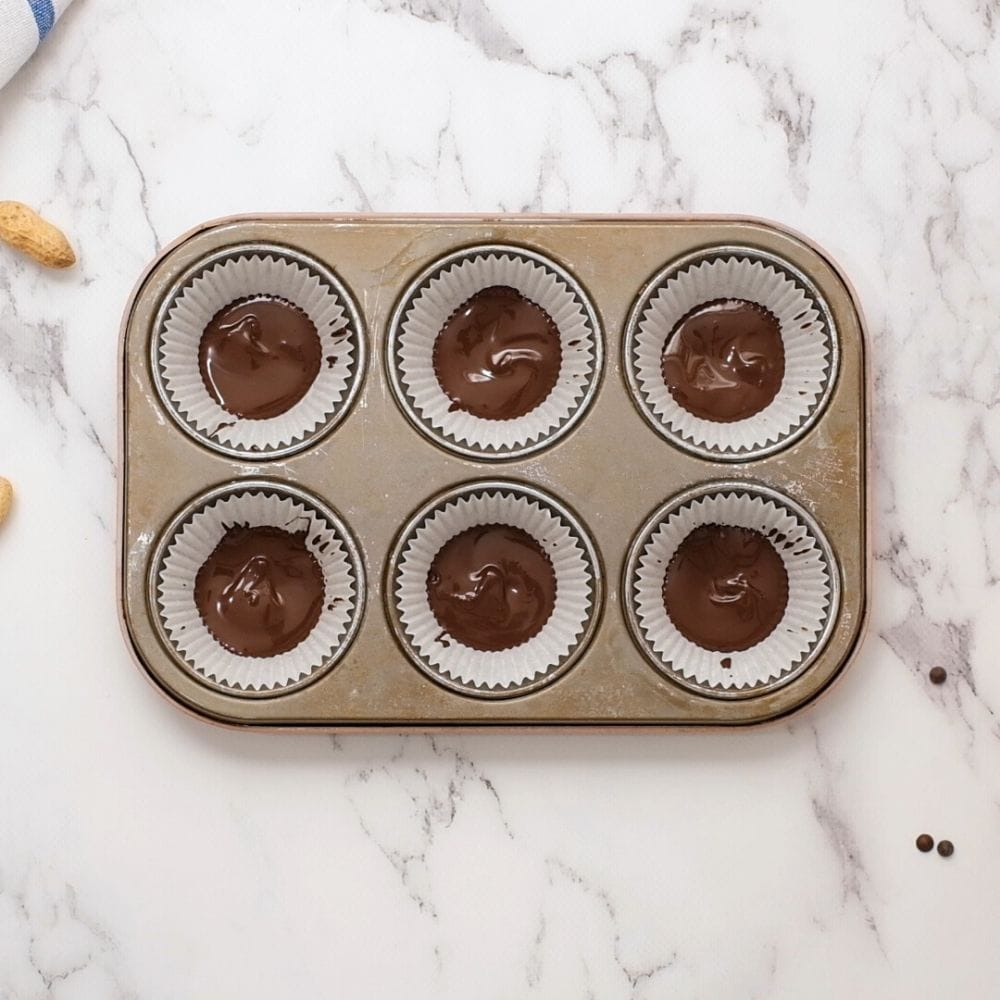 Melted Chocolate in muffin tin liners