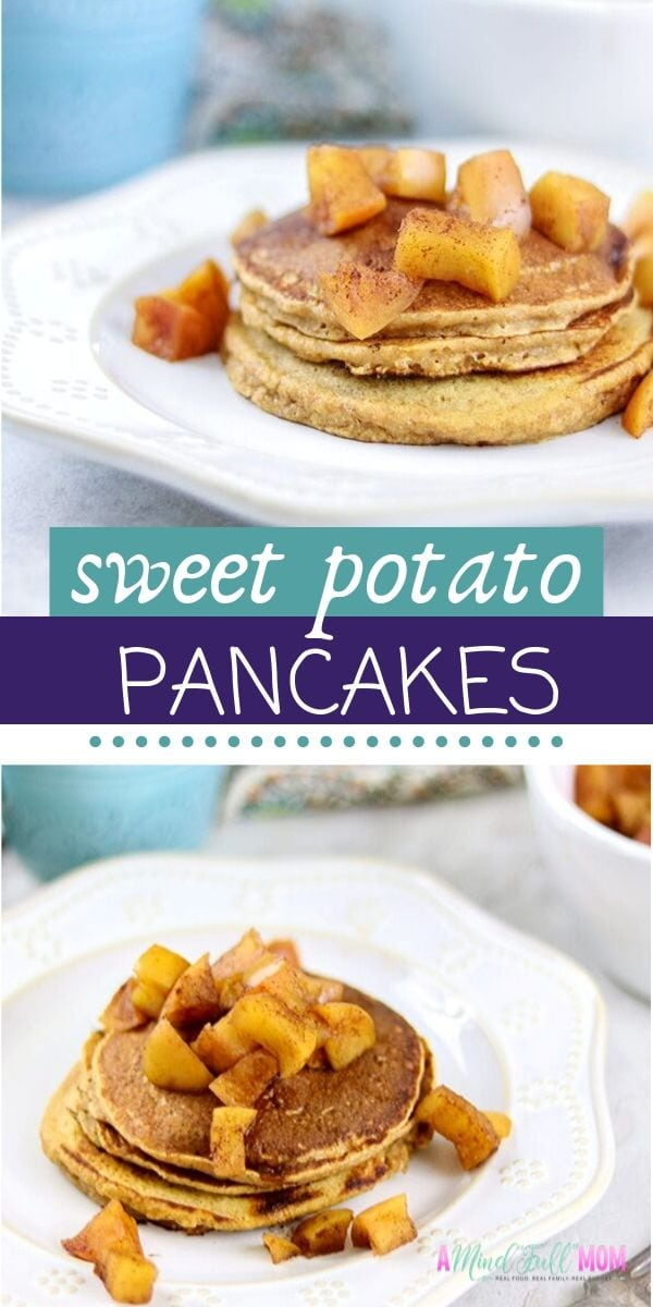 Tender whole wheat Healthy Sweet Potato Pancakes topped with Spiced Apple Campote is a great way to start any day! This easy healthy fall recipe is the perfect sweet potato breakfast your family will love.