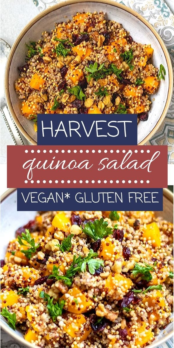 Harvest Quinoa Salad is a delightful mix of texture and flavors. It is made with roasted butternut squash, dried cranberries, quinoa, and a pumpkin vinaigrette for a delicious gluten-free and vegan side dish.