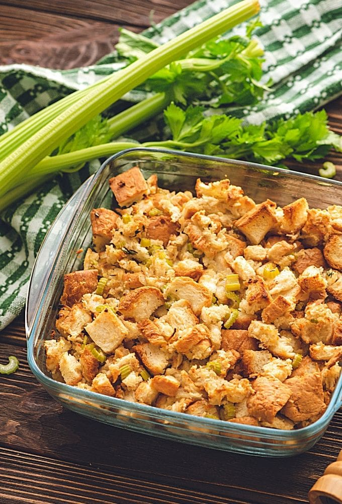 Traditional Stuffing Recipe in glass baking dish