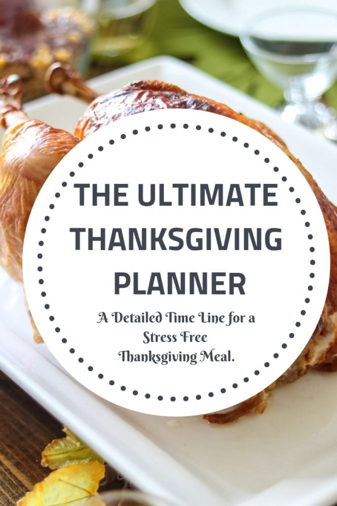 Turkey Dinner with text overlay the ultimate thanksgiving planner