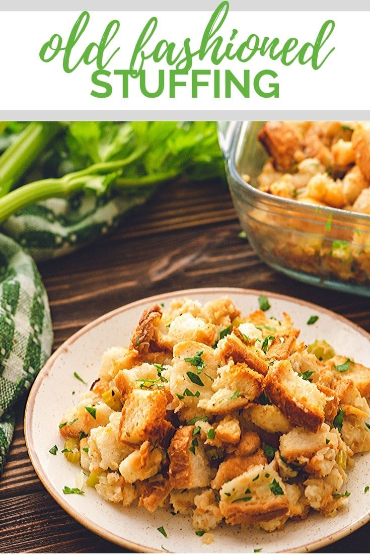 Classic stuffing recipe made with bread cubes, sauteed onions,celery, and butter. Easy to make and compliments any main course perfectly. Add this to your Thanksgiving dinner recipes!