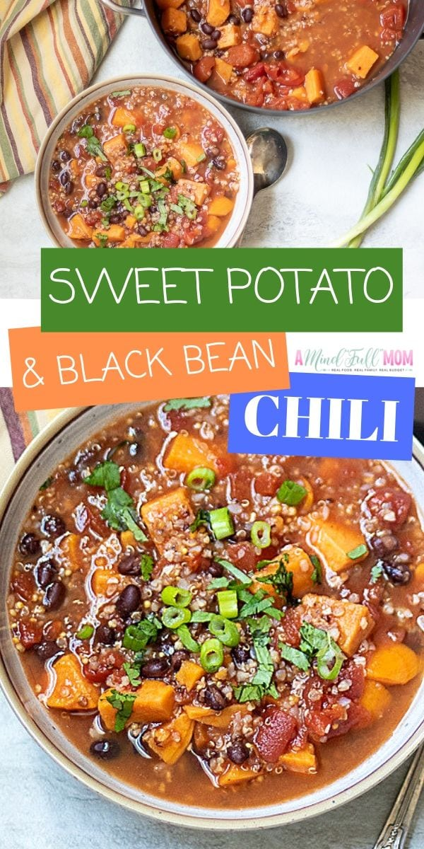 This is the most comforting healthy chili recipe ever! Made with tender chunks of sweet potatoes, black beans, and quinoa, this Gluten Free, Vegan Friendly Black Bean Chili is packed with flavor, protein, and fiber. And it comes together in less than 30 minutes--for an easy healthy family dinner.
