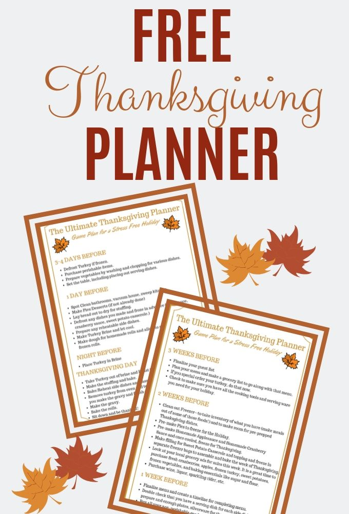 Text showing Thanksgiving Planner with Text