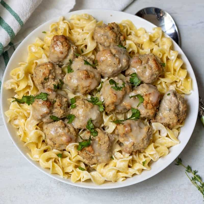 Swedish Meatballs in White serving bowl