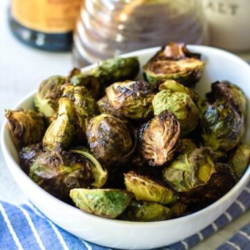 Bowl of Crispy Brussel Sprouts with Balsamic Honey Glaze