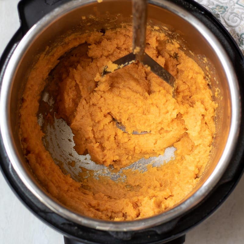 Sweet Potatoes in Instant Pot with potato masher