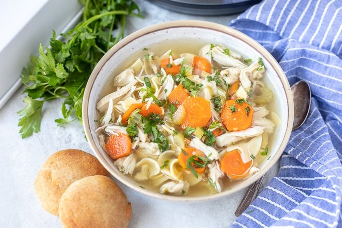 Easy Instant Pot Chicken Noodle Soup Served in White Bowl