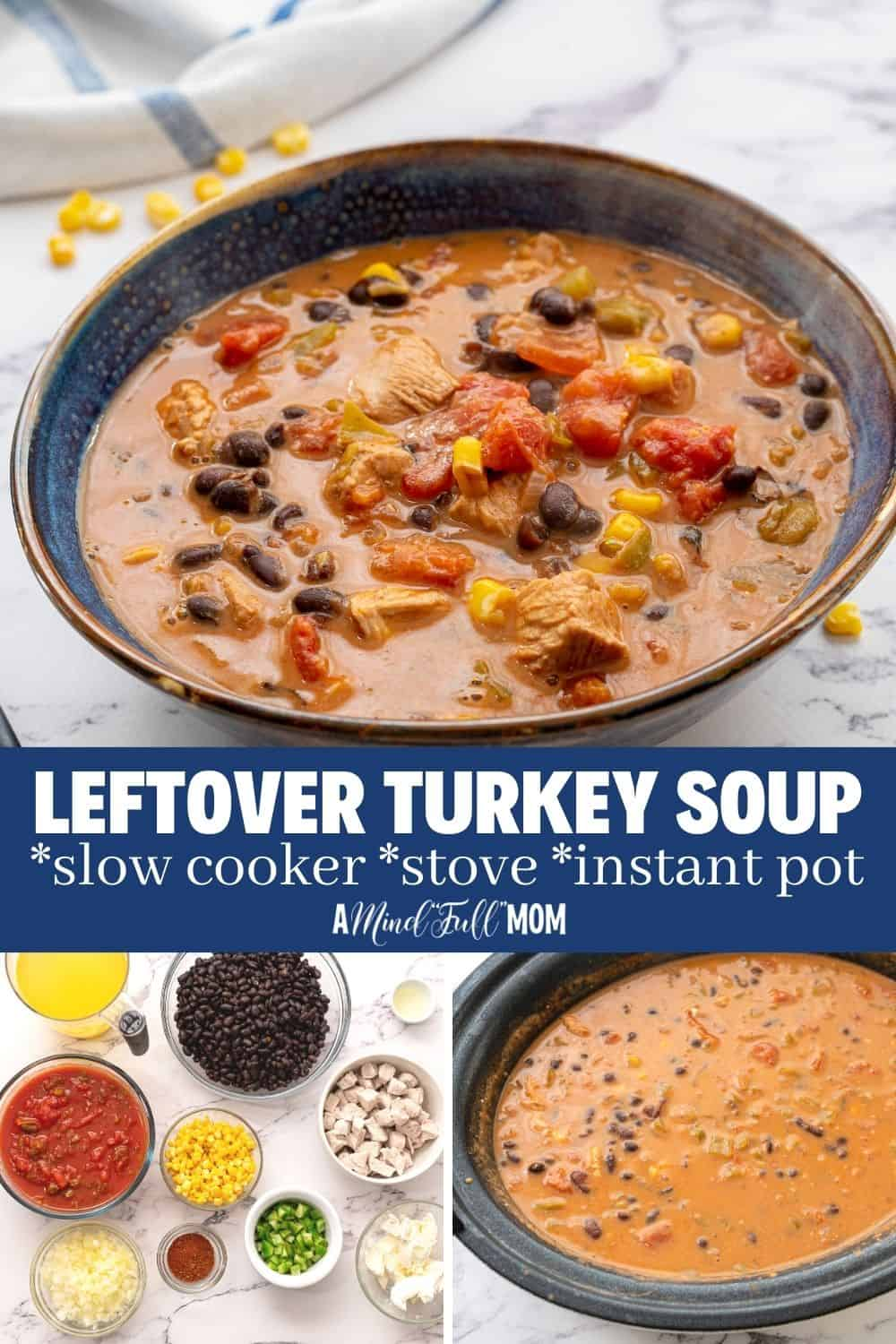 Looking for the best Leftover Turkey Soup Recipe? This Southwest Turkey Soup is it! A creamy, spicy broth envelopes leftover turkey, corn, and beans for a hearty turkey soup that tastes NOTHING like Thanksgiving! It is the perfect way to change up those leftovers into something new and delicious. And did I mention this leftover turkey soup is EASY to make as well?!