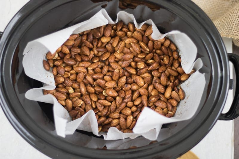 Slow Cooker filled with maple glazed nuts