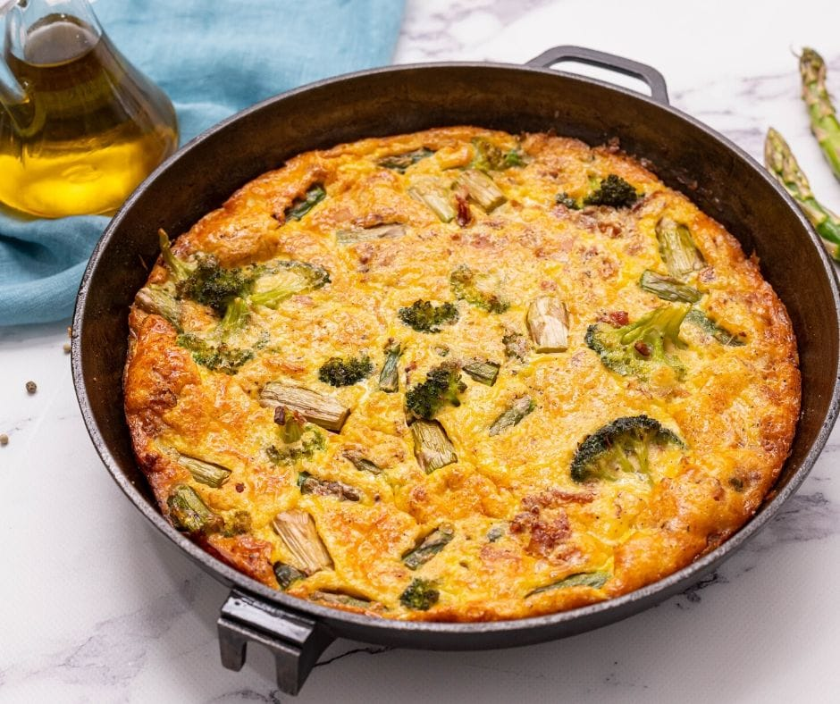Baked Asparagus Frittata in cast iron skillet