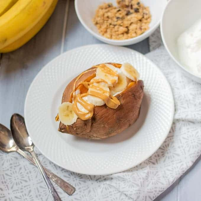 Sweet Potato stuffed with yogurt and bananas