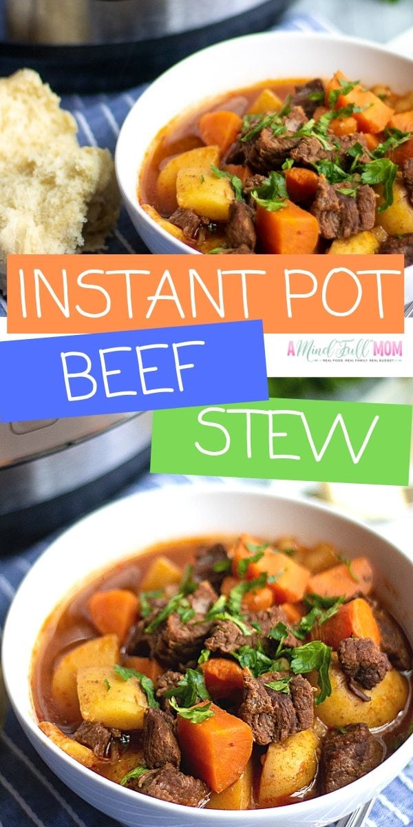 This Instant Pot Beef Stew is the BEST Beef Stew EVER and it is made in a fraction of the time of traditional Beef Stew. Tender beef, potatoes, and carrots are enveloped in a rich, flavorful broth that is seasoned to perfection.
