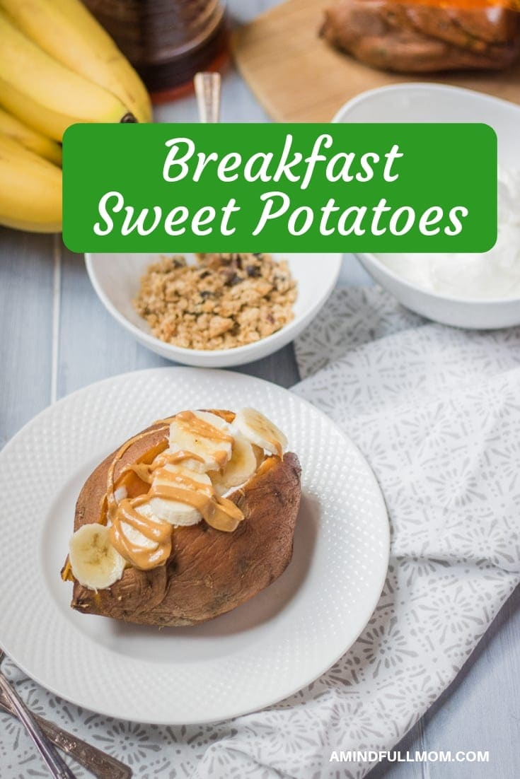 Sweet Potatoes done breakfast style! A baked sweet potato is topped with yogurt, nut butter, and banana for a healthy, balanced breakfast.
