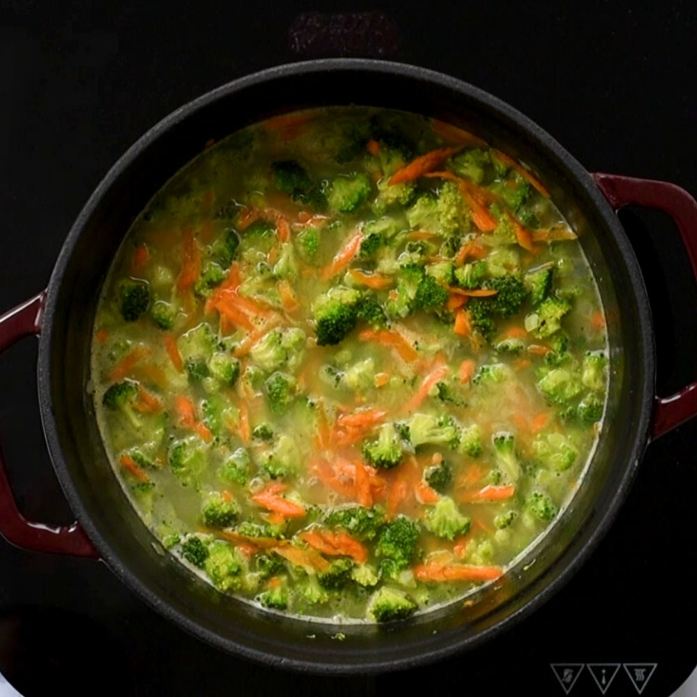 Broccoli Soup in stock pan