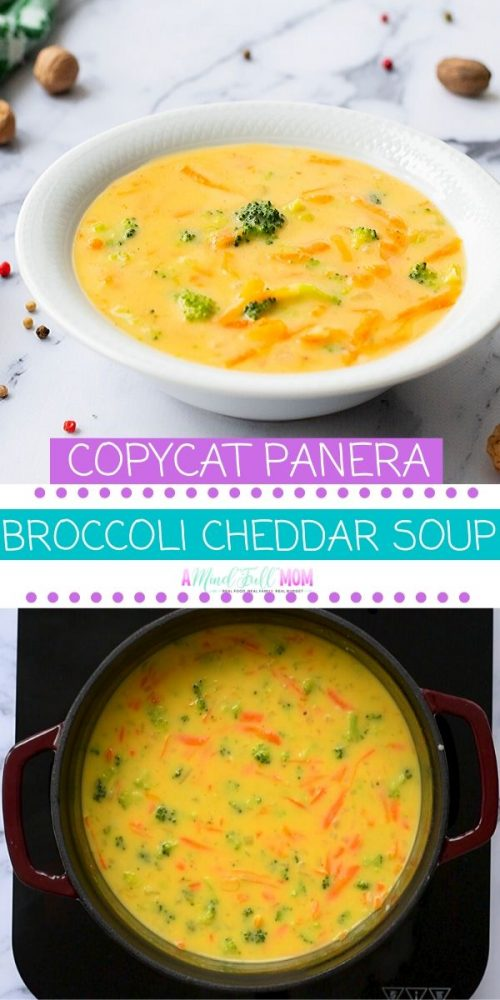 Save yourself time and calories and make this version of Copycat Panera Broccoli Cheddar Soup. Ready in just 30 minutes, no one will guess this broccoli cheddar soup recipe has been lightened up and contains only a fraction of the fat and calories of Panera Bread's famous broccoli cheese soup.  This is a MUST make soup!
