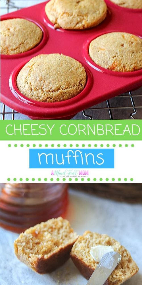 Cornbread Muffins are an easy, from-scratch recipe that are tender, soft, and delicious. Naturally sweetened with honey and bursting with sharp cheddar cheese, these corn bread muffins are a perfect side dish to a soup or a great snack with slathered in jam.