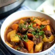 A bowl of Beef Stew next to an Instant Pot