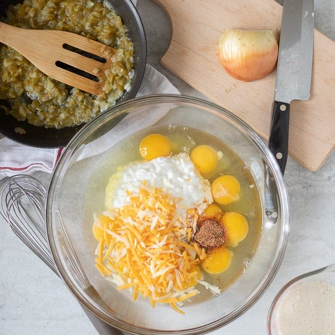 Mixing Bowl with Eggs, cottage cheese, and cheese