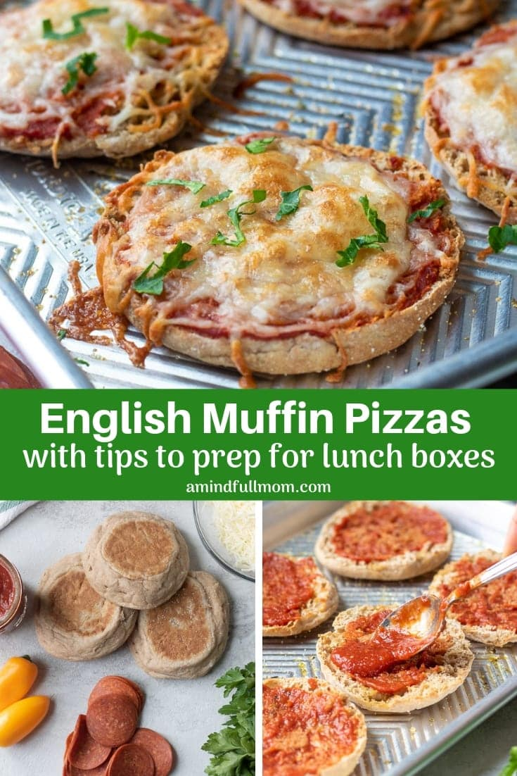 "English Muffin Pizzas are super simple to make and make the perfect snack or lunch! Tips for how to get a perfect ""crust"" and how to freeze these English Muffin Pizzas for meal-prep!"