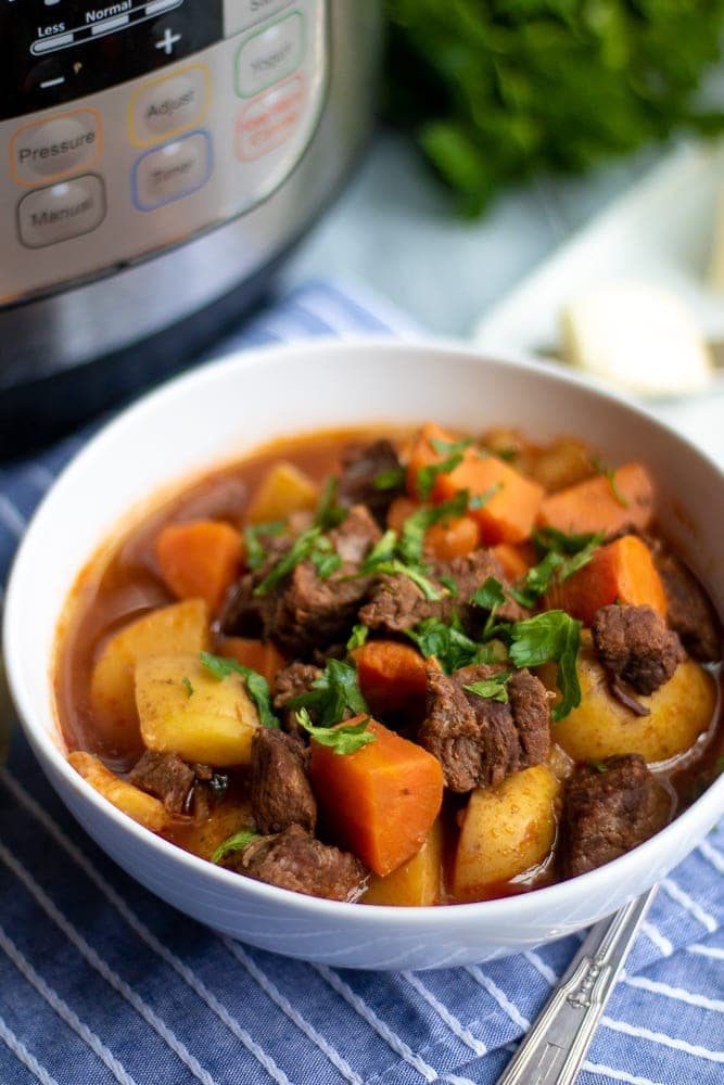 Bowl of Beef Stew Next to Instant Pot