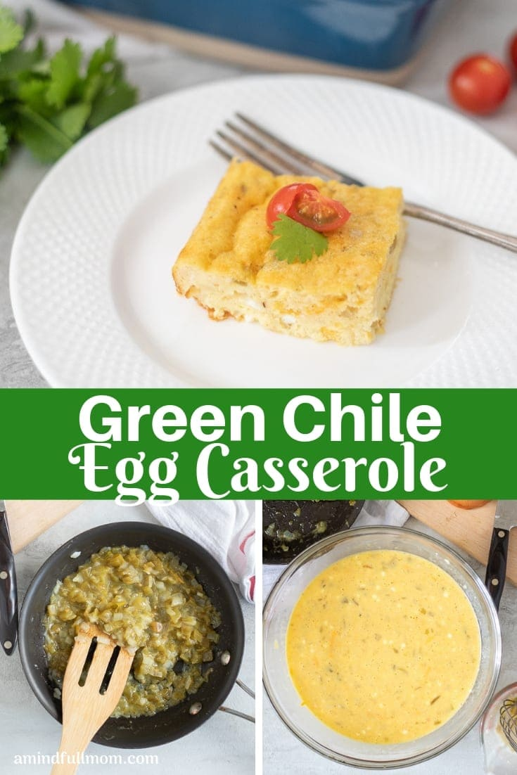 This Green Chile Egg Casserole is a delicious baked egg casserole filled with green chiles, creamy cottage cheese, and sharp cheese. This slightly spicy egg bake is a perfect addition to breakfast or brunch menus. #eggcasserole #eggbake #breakfastcasserole