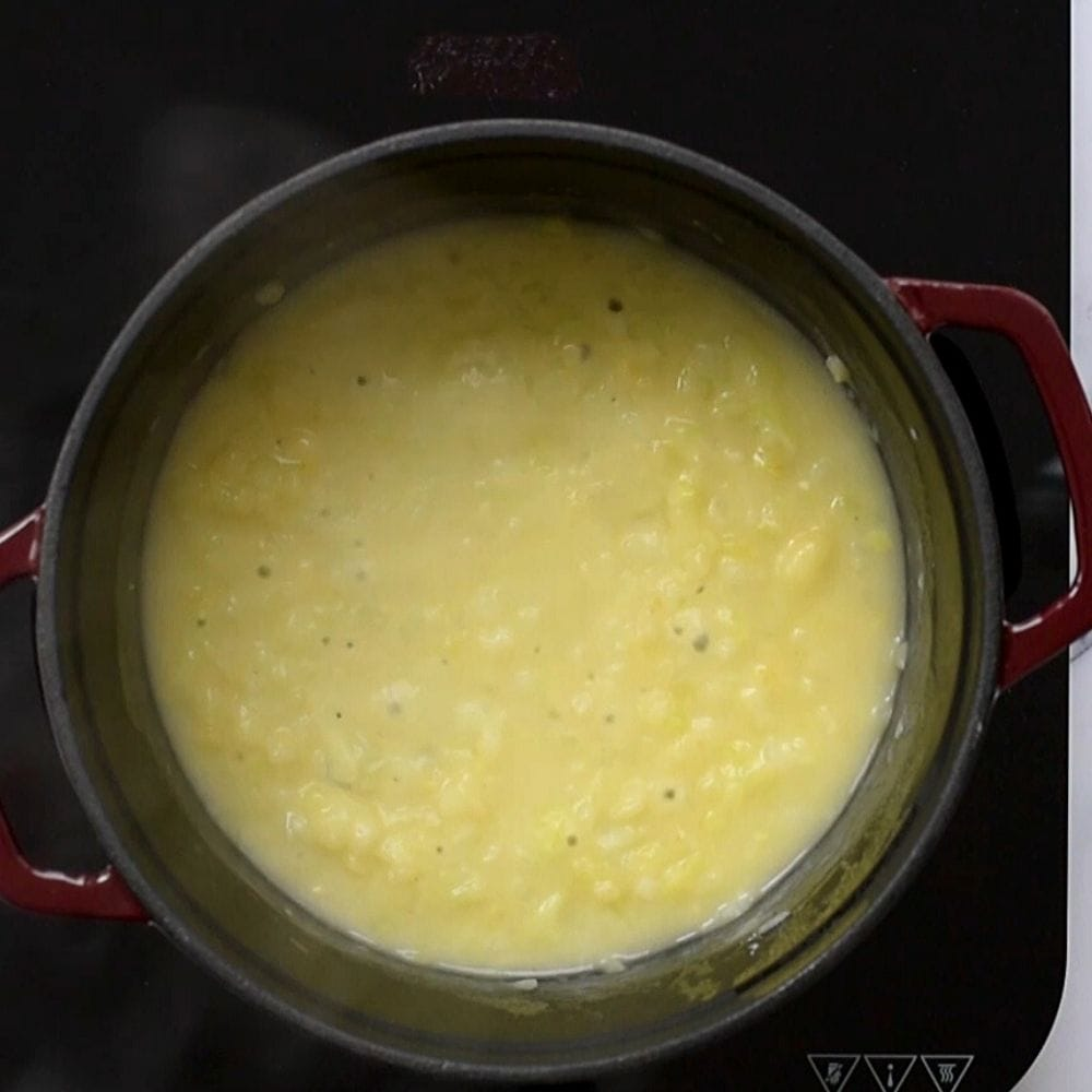 Roux for Broccoli Cheddar Soup in stock pan