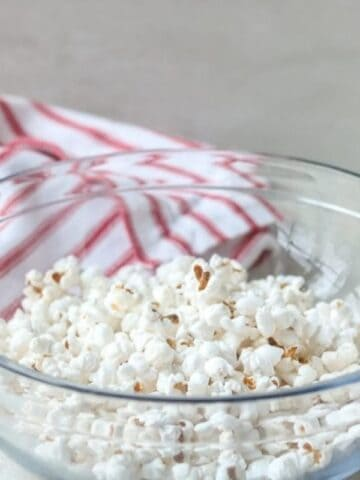 Bowl of Homemade Microwave Popcorn