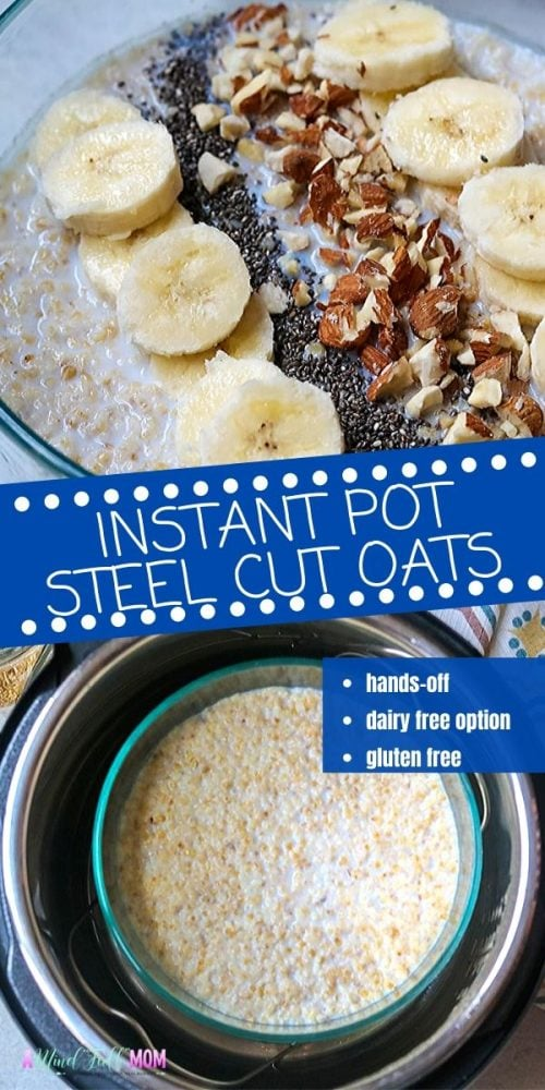 If you are looking for a recipe for perfect Instant Pot Steel Cut Oats, this recipe is for you! In less than 30 minutes from start to finish, the instant pot cooks steel cut oats up to creamy, tender perfection. This recipe for Instant Pot Steel Cut Oatmeal is a staple for busy mornings. It is a hands-off method for making a hearty, healthy breakfast.