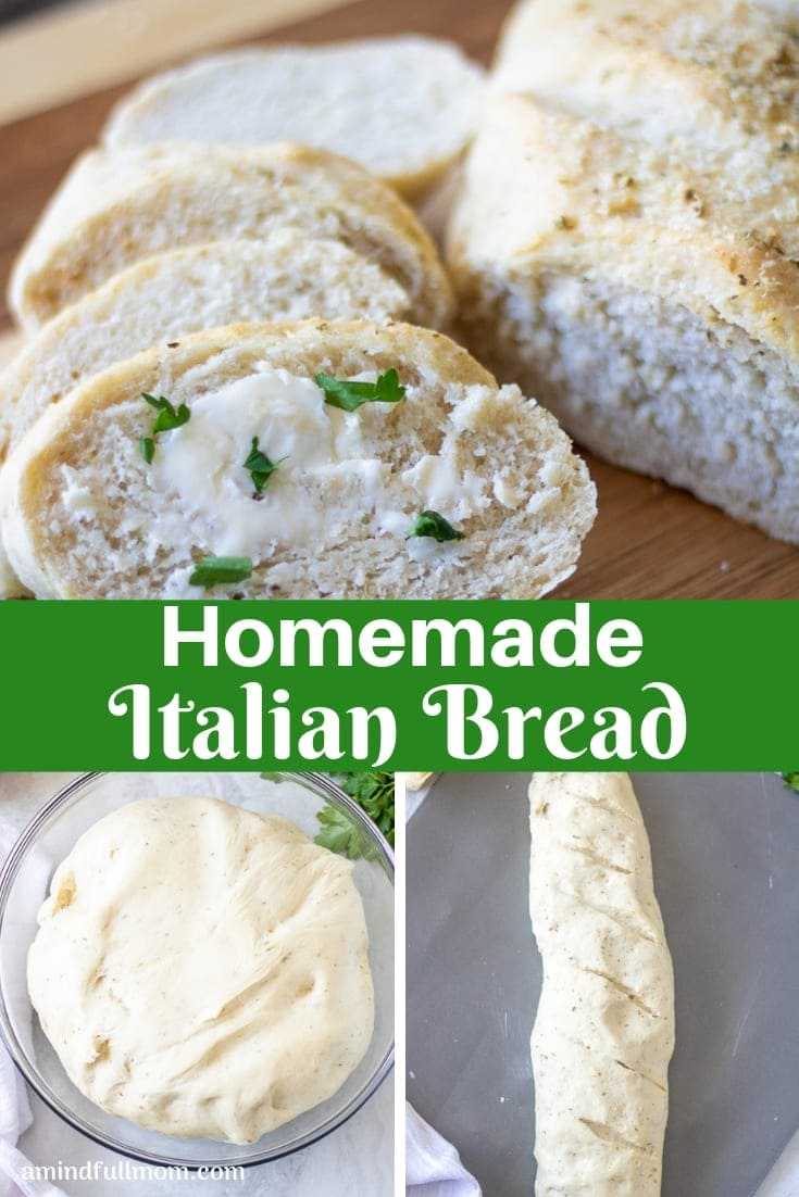 Homemade Italian Bread is incredibly easy to make! This simple recipe for Italian Bread is perfect to serve alongside soup, use as the base for garlic bread, or to use as sandwich bread.