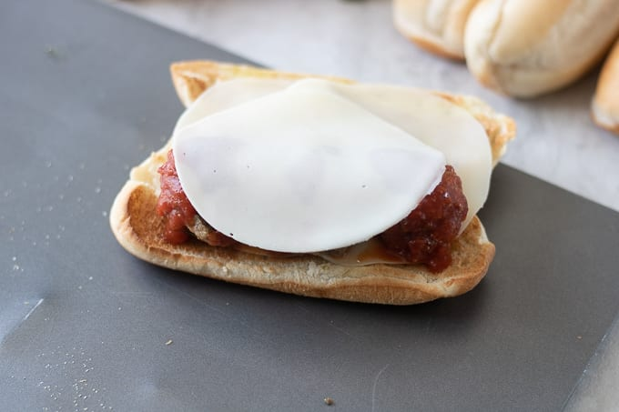 Provolone Cheese on Meatballs for Sub Sandwich