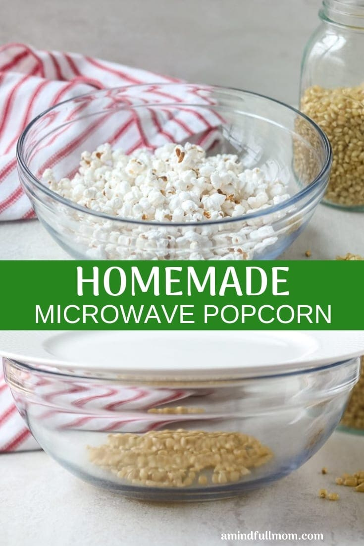 Ditch the store-bought microwave popcorn and make Homemade Microwave Popcorn with just a few simple steps, for a healthier whole-grain snack.