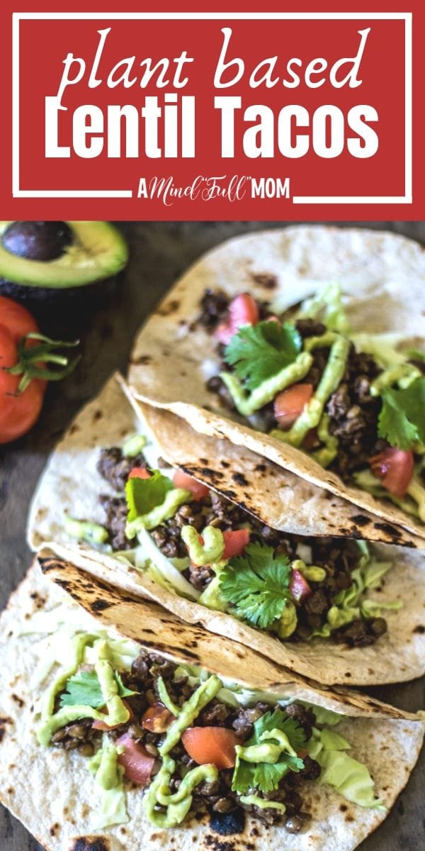 Lentil Tacos are a delicious meatless version of tacos. Lentils are simmered with taco seasoning and finished with an avocado-lime cream and crunchy cabbage for a perfect balance in flavors and texture.