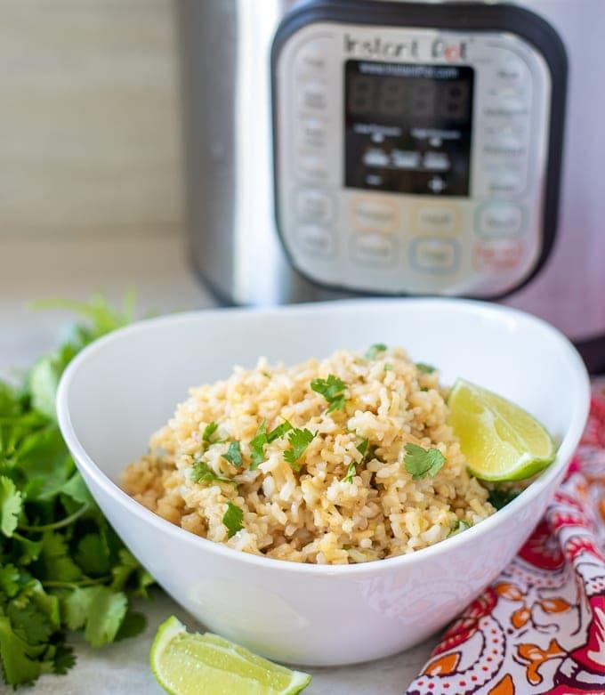 Bowl of Instant Pot Cilantro Lime Rice