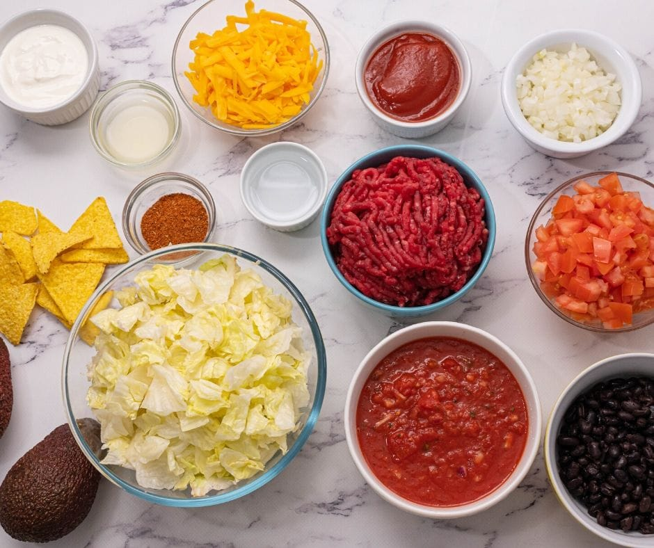 Ingredients for Taco Salad on counter