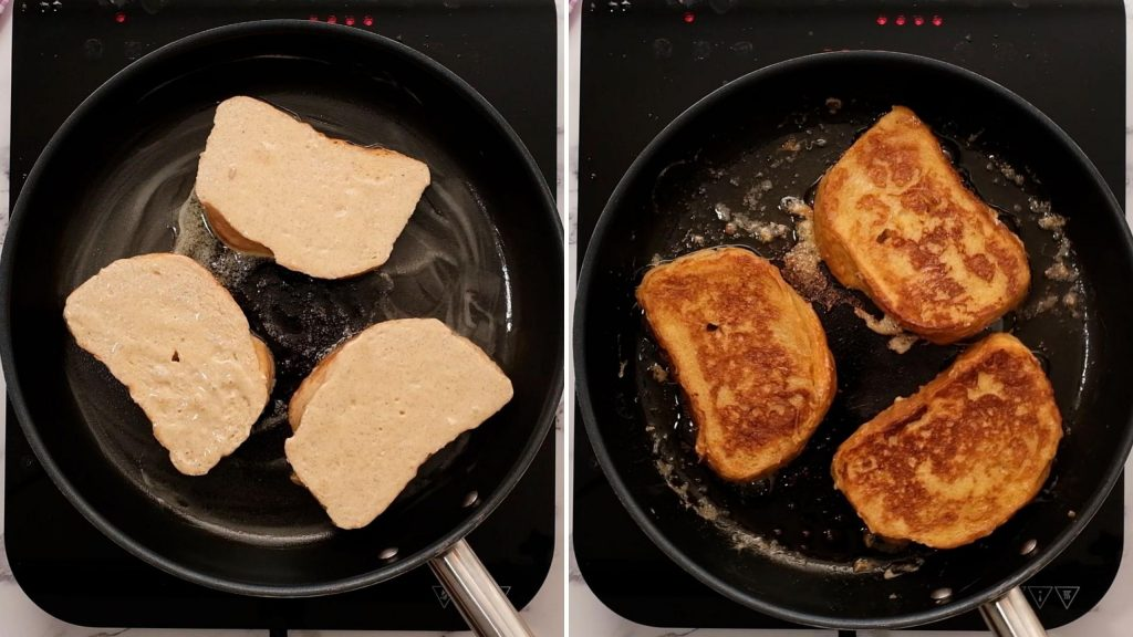 Side by side collage of cooking French Toast in frying Pan