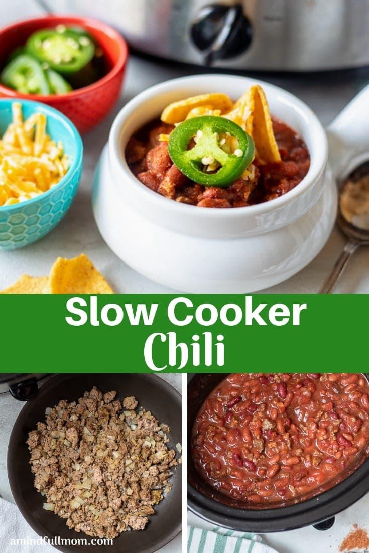 This Slow Cooker Chili is the best recipe for classic chili ever! Ground beef, beans, and a homemade chili spice blend are simmered low and slow in the crock-pot with tomatoes for a delicious, hearty chili recipe.