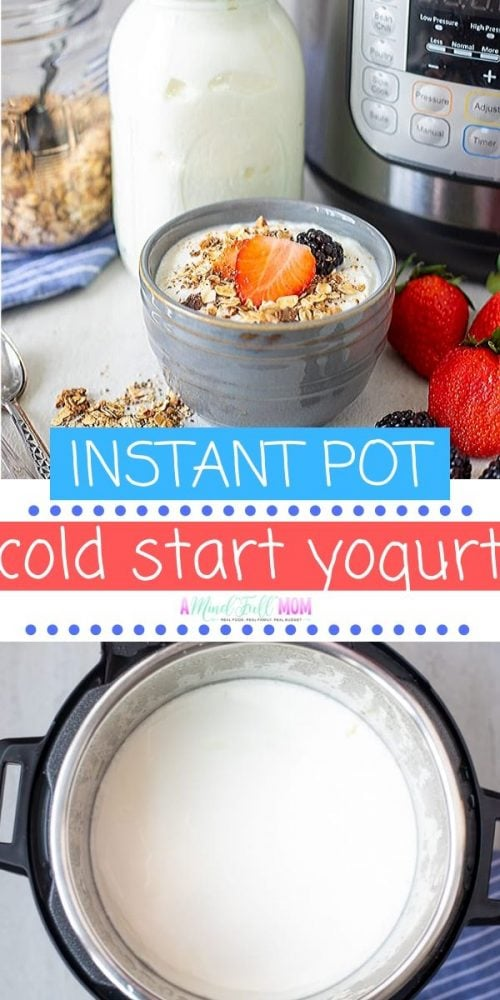Homemade Yogurt has NEVER been easier than with this Cold Start Instant Pot Yogurt. Two ingredients and time is all you need to have perfect, creamy, thick yogurt.Cold start yogurt is lower in sugar and carbs than traditional yogurt. It is also higher in protein.