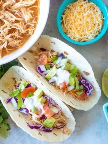Chicken Tacos made with Instant Pot Shredded Mexican Chicken