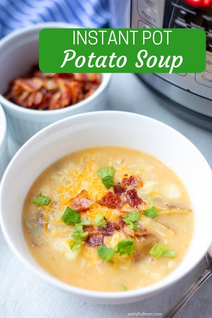 Instant Pot Potato Soup, is an easy, gluten-free version of creamy baked potato soup that your family will love!