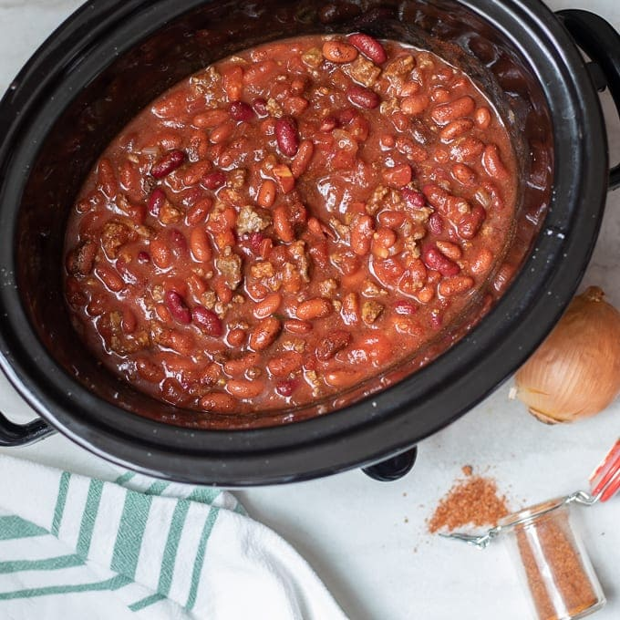 Cooked Chili in Slow Cooker