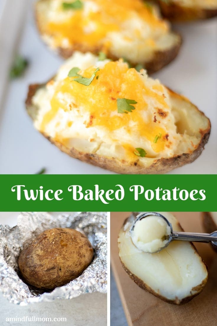 Easy Twice Baked Potatoes are cheesy, creamy, and a make a perfect side dish to any main course. Made with sour cream, butter, and cheese and stuffed into a crispy potato skin, this Twice Baked Potato Recipe is sure to impress!