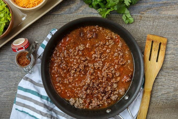Ingredients for Taco Meat in Skillet