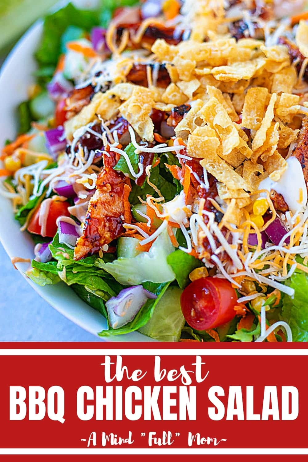 This BBQ Chicken Salad is one of the BEST salads ever! Grilled BBQ Chicken is tossed with crunchy romaine, sweet corn, sharp red onions, juicy tomatoes, fresh cucumber, shredded cheese, crunchy tortilla chips and a barbecue ranch dressing. BBQ Chicken Salad is fresh, filling, creamy, tangy, and just down right delicious. #bbqchicken #salad