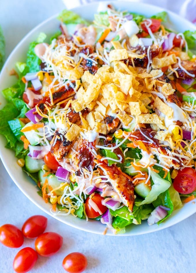 Bowl of Chicken Salad with BBQ Sauce