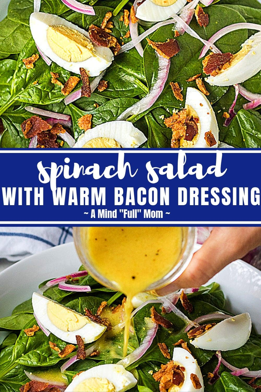 Spinach Salad with Warm Bacon Dressing and hard boiled eggs is a classic favorite and perfect for entertaining or to compliment a family meal. This spinach salad is simple to make and wins over everyone--even people who THINK they don't like spinach! #salad #spinach