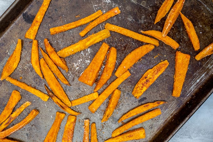 Baked Sweet Potato Fries on Baking Sheet