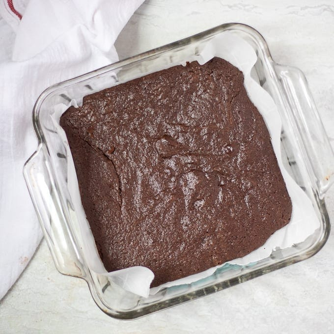 Baked Brownies in glass dish