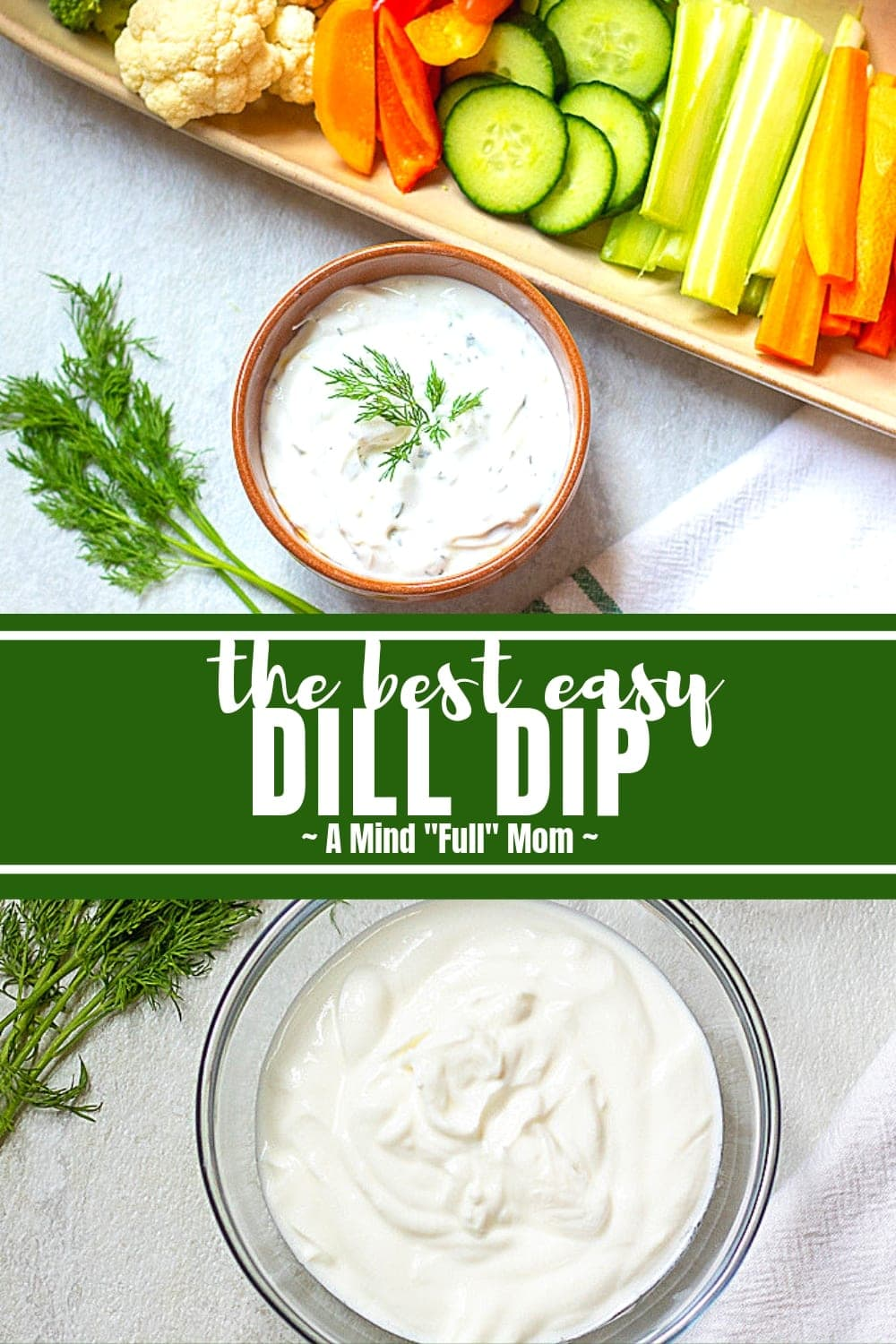 This easy dill dip comes together in less than 5 minutes and is a creamy, flavorful dip perfect for veggies, crackers, bread, chips, or as a sauce for grilled meat. This recipe for dill dip has a lightened up and decadent version perfect for anyone!